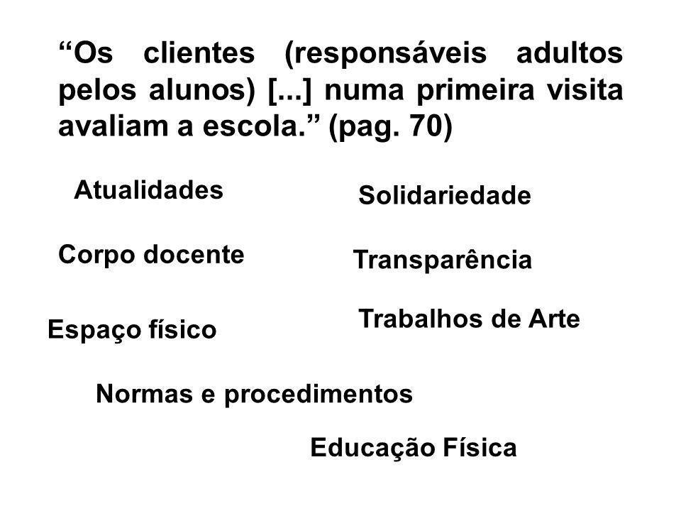 Os clientes (responsáveis adultos pelos alunos) [